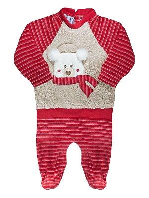 Macacão para bebê RoseBud Longa Plush Ursinho Vermelho