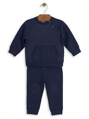 Conjunto Up Baby Blusão e Calça Moletom Matelassê Azul Marinho