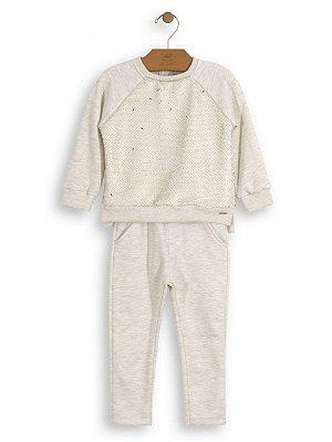 Conjunto Up Baby Infantil Menina Blusão Paetê e Calça Moletom Mescla Creme