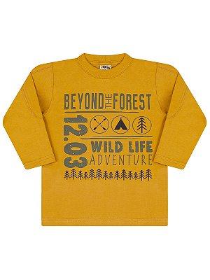 Camiseta Molekada Infantil Longa Beyond The Forest Amarelo Mostarda