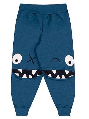 Calça Molekada Moletom Infantil Monstrinho Azul
