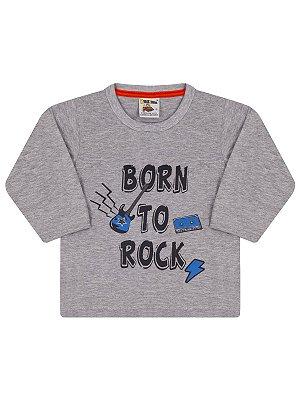 Camiseta Molekada Manga Longa Born to Rock Cinza Mescla