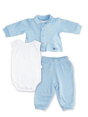 Conjunto Pagão 3 peças Bela Fase Casaco Body Regata Culote Azul