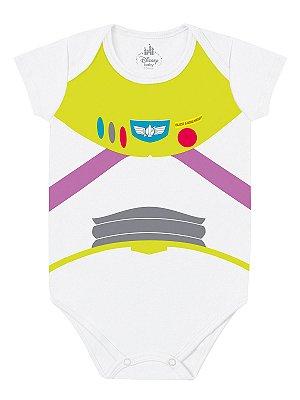 Body para bebê Marlan Fantasia Manga Curta Buzz Branco