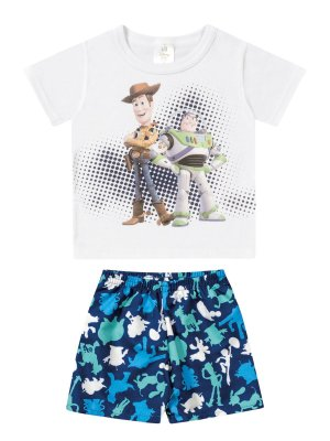Conjunto Marlan 2 peças Curto Camiseta Bermuda Toy Story Branco