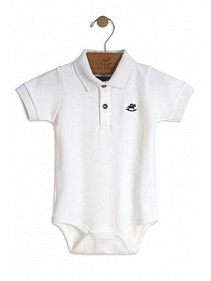 Body Up Baby Curta Gola Polo em Suedine Branco