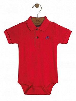 Body Up Baby Curta Gola Polo em Suedine Vermelho
