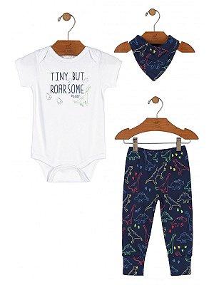 Kit 3 peças Up Baby Body Calça Babador Dino Branco