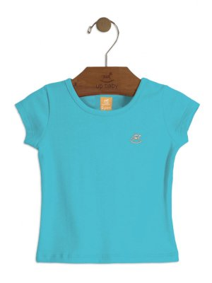 Blusa Up Baby Manga Curta Cotton Básica Azul