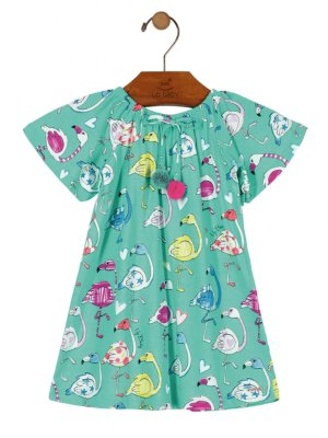 Vestido Up Baby Manga Curta Meia Malha Flamingos Verde