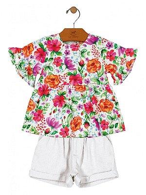 Conjunto Up Baby Blusa Floral Tricoline e Short em Linho Branco