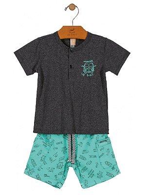 Conjunto Up Baby 2 peças Camiseta Malha e Bermuda Sarja Kombi Cinza