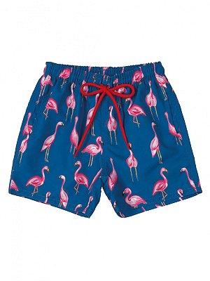 Bermuda Up Baby em Microfibra Flamingo Azul