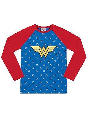 Camiseta Surfista Marlan Longa Mulher Maravilha FPS Azul