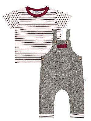 Conjunto Marlan Camiseta Malha e jardineira Nuvem Vermelho