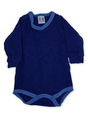 Body para Bebê RoseBud Longa em Soft Glacê Peluciado Azul Marinho