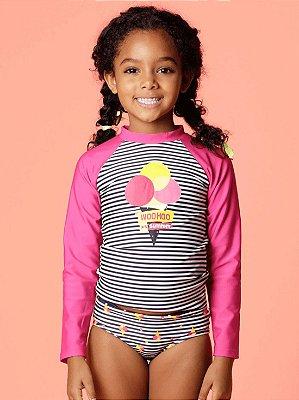 Camiseta Puket Infantil Surfista FPS Listras Sorvete Pink