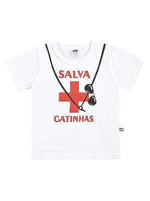 Camiseta Marlan Curta Fantasia Salva Gatinhas Branco