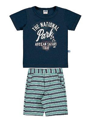 Conjunto Marlan Camiseta Malha Curta e Bermuda Tecido Marinho