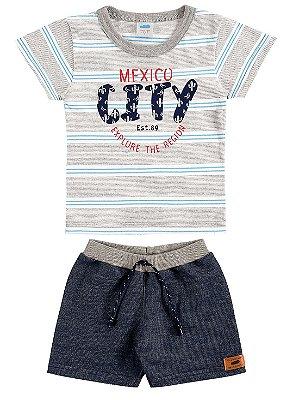 Conjunto Marlan Bebê Camiseta Curta e Bermuda Malha Cinza