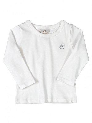 Camiseta Up Baby Básica Menina em Malha Longa Branca