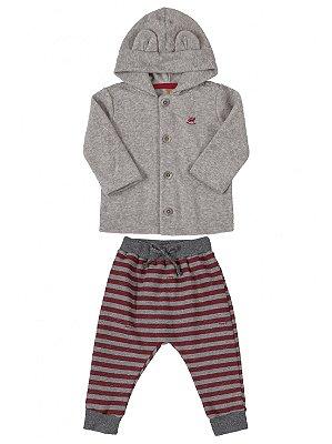 Conjunto Up Baby Casaco Plush e Calça Moletom Cinza