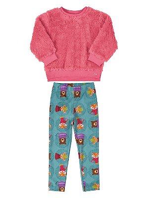 Conjunto Up Baby Blusão em Pêlo e Calça Flanelada Rosa