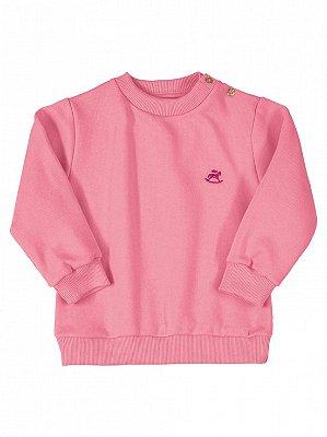 Blusão Up Baby em Moletom Longa Básico Rosa