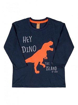 Camiseta up Baby Manga Longa Hey Dino Azul Marinho