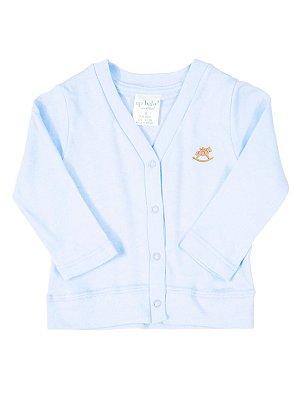 Casaco Up Baby Básico Longa em Suedine Azul Claro
