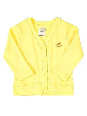 Casaco Up Baby Básico Longa em Suedine Amarelo
