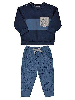 Conjunto Up Baby Blusão e Calça Urso Polar Azul