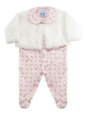 Macacão para bebê Rosebud Plush Pêlo Flores Longa Rosa