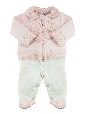Macacão para bebê Rosebud Soft Glacê Suede Longa Rosa