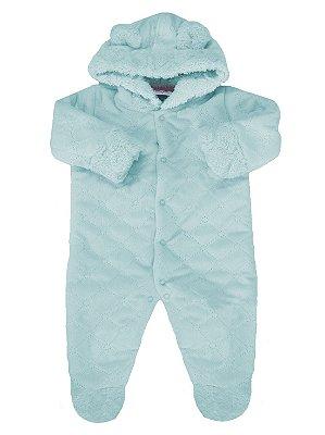 Macacão para bebê Rosebud com Capuz Pêle Azul