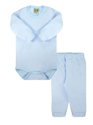 Conjunto Rosebud Body Calça Longa Soft Glacê Azul