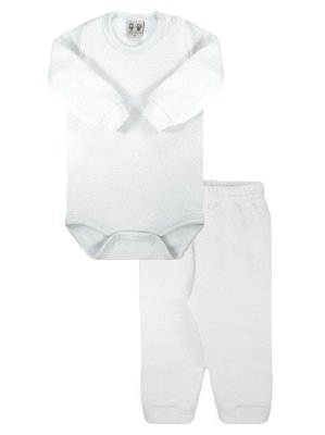 Conjunto Rosebud para Bebê Body Calça Longa Soft Glacê Branco