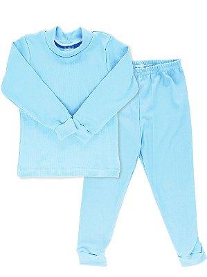 Conjunto Blusa Calça Rosebud Canelado Azul