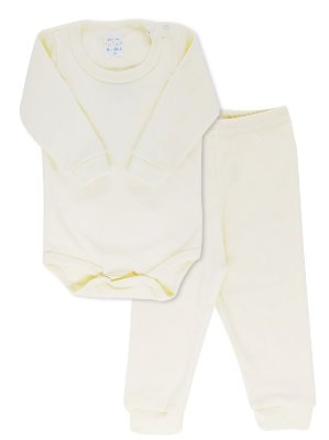 Conjunto Rosebud Bebê Body e Calça Canelada Natural