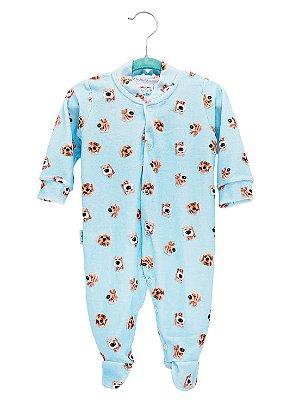 Macacão Rosebud para Bebê Plush Longa Dogs Azul