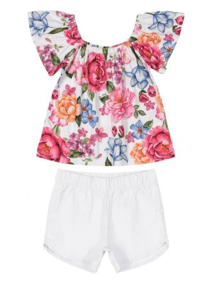 Conjunto Up Baby Infantil Blusa Malha e Shorts Tecido Floral