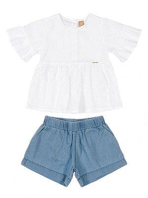 Conjunto Infantil Up Baby Blusa e Short em Tecido Branco