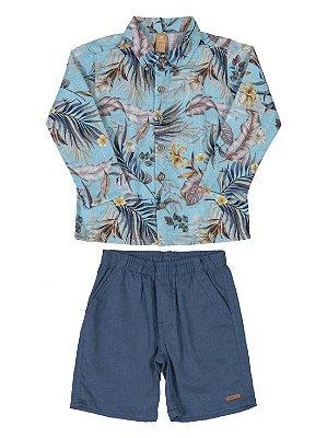 Conjunto Infantil Up Baby Camisa Longa e Bermuda Floral Azul