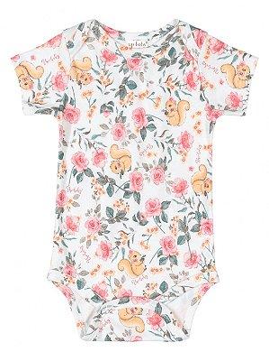 Body para Bebê Up Baby Curta Suedine Esquilo Floral OffWhite