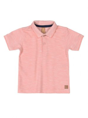 Camisa Polo Up Baby Manga Curta em Piquet Rosa