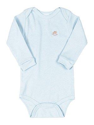 Body para Bebê Up Baby Manga Longa Suedine Azul Claro