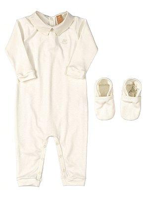 Conjunto para Bebê Up Baby Macacão e Sapatinho em Suedine