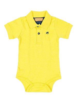 Body Polo para Bebê Up Baby Manga Curta Suedine Amarelo