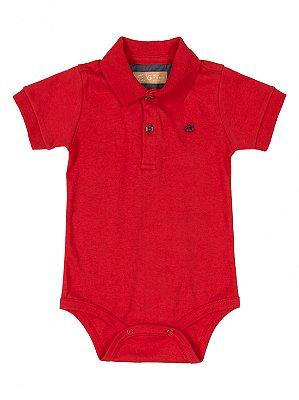 Body Polo para Bebê Up Baby Manga Curta Suedine Vermelho