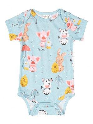 Body para Bebê Up Baby Manga Curta Suedine Bichinhos Azul